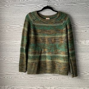 Mossimo Green Multicolor Scoop Neck Knit Sweater